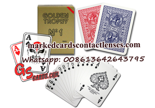 Golden trophy playing cards