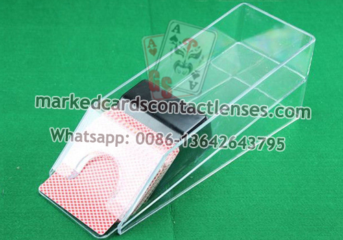 Baccarat dealing shoe playing cards camera